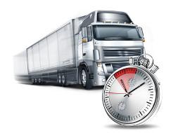 Bild zum Thema Lenk- und Ruhezeiten. Sie sehen einen Lkw und eine Uhr