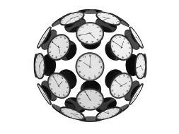 Bild zum Thema UTC Zeit. Sie sehen eine Kugel mit Uhren
